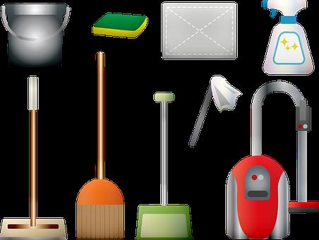 Cleaning Supplies, Vacuum, Broom, Duster, Sponge