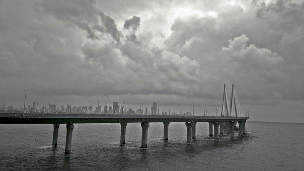 Mumbai, Skyline, Sealink, Cloudy, Landscape
