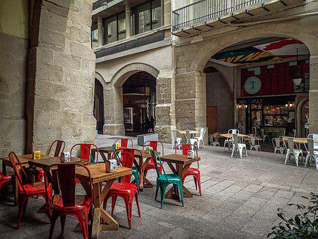 Lleida, Street, City, Cafeteria, Chairs Tables, Colors