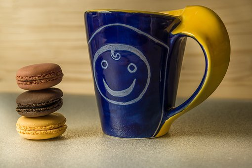 Macarons, Coffee, Cup, Blue, Tinkered, Breakfast