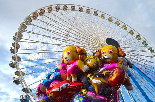 Ballons, Balloons, Ferris Wheel, Ride, Festival, Fair