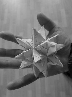 Hold, Star, Christmas, Hand, Grey, Abstract, Origami