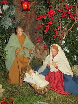 Crib, Holy Family, Maria, Josef, Jesus, Child