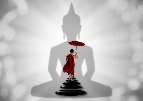 Monk, Buddha, Zen, Stones, Away, Light Beam, Color, Key