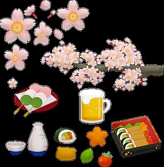 Japanese Food, Sushi, Beer, Sake, Mochi, Sakura