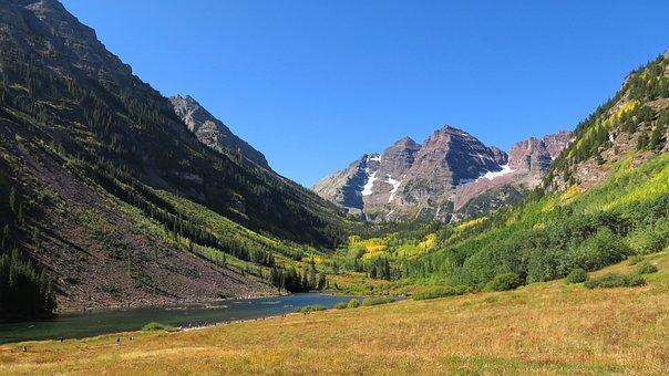 Autumn, Colorado, Lake, Mountain, Maroon Bells