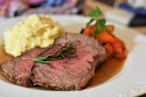 Roast Beef, Beef, Meat, Steak, Pastinakenpuree