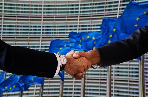 Handshake, Shaking Hands, Europe, Flag, Policy