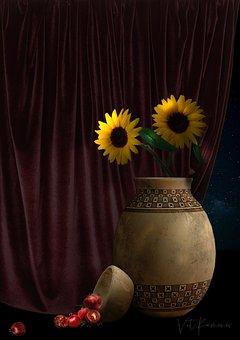 Curtain, Vase, Sunflower, Bowl In Grenades