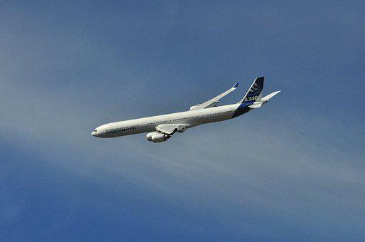 A340, Airbus, Toulouse, Sky, Blue, Clouds, Flight