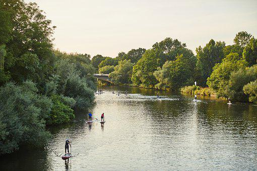 Hanover, Stand Up Paddling, River, Ihme, Water, Trees