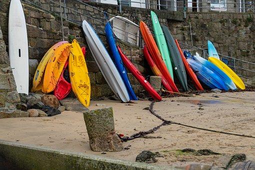 Standing Kayaks, Harbor, Low Tide, Kayaks, Vacationing