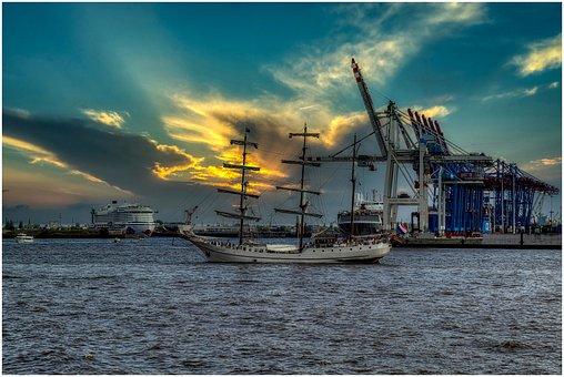 Port, Sailing Vessel, Ship, Water, Sail, Sky, Landscape