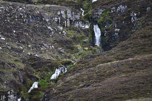Scotland, Highlands, Waterfall, Mountains, Landscape