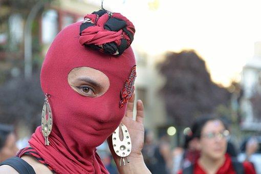 Mask, Hood, Eyes, Look, Women, Red