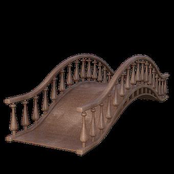 Wooden Bridge, Brown, Water, 3D