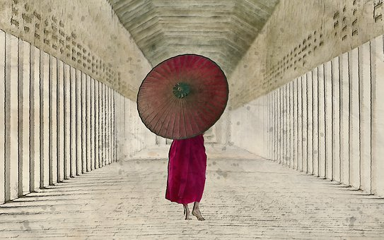 Young, Monk, Walking, Day, Time, Umbrella, Male