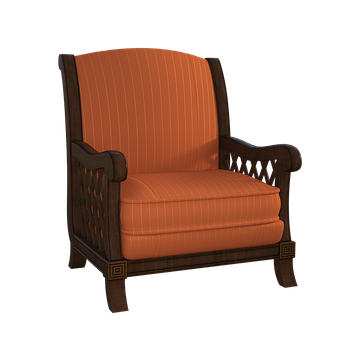 Comfy Chair, Wooden, Fabric, Pattern, Indoor, 3d