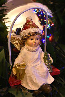Christmas, Angel, Presents, Xmas, Tree, Decoration
