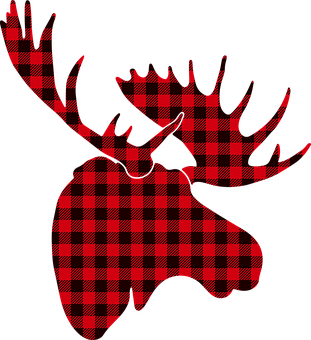Moose, Buffalo Plaid Red Moose, Deer Silhouette, Deer