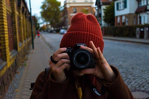 Girl, Camera, Canon, Photographer, Hobby, Person