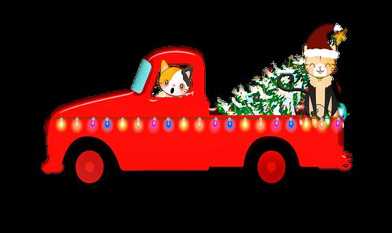 Christmas Truck, Christmas Tree, Lights, Santa Claws