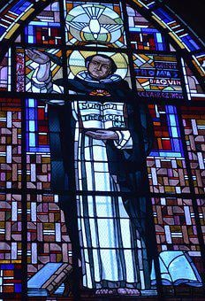 Stained Glass, Window, Church, Dove, Saint, Man, Monk