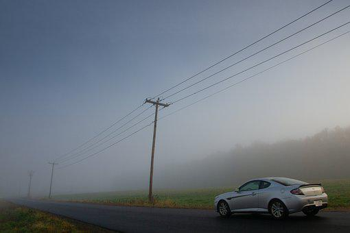 Countryside, Power Lines, Car, Landscape, Farmland