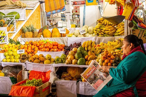 San Pedro, Market, Cusco, Peru, Fruit, Architecture