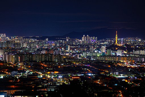 Korea, Daegu, Landscape, Night Videw, Republic Of Korea