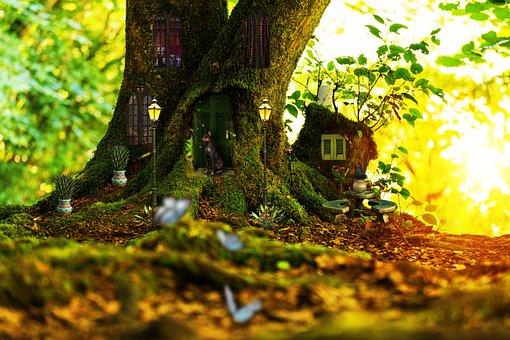 Tree, House, Magical, Mystical, Enchanted, Door, Window