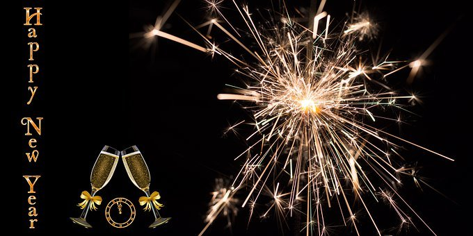 New Year's Day, Champagne, Fireworks, New Year Greeting