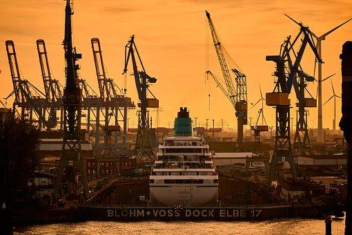 Krahn, Ship, Dock, Elbe, Hamburg, Port, Boat, Sunset