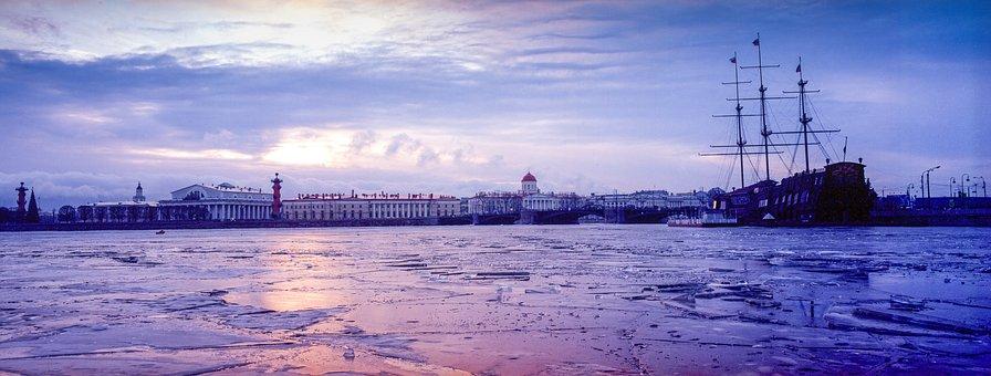 Neva, Ice, Sunset, St, Petersburg, Ship, Ice Drift