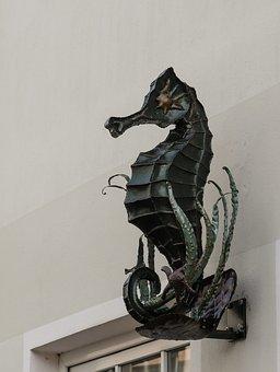 Seahorse, Statue, Iron, Artfully, Metal, Sculpture