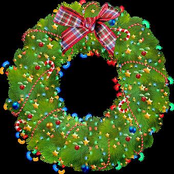 Christmas Wreath, Lights, Green, Christmas, Advent
