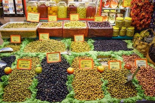 Olives, Market, Food, Fruits, Market Stall