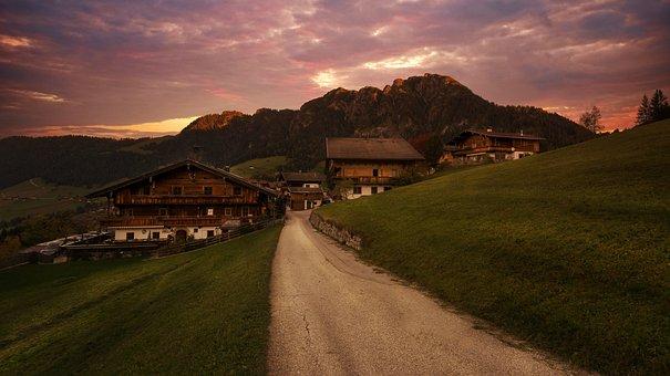 Away, Alpine Houses, Mountains, Abendstimmung
