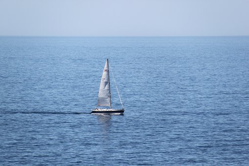 Sea, Sailboat, Sailing, Ocean, Water, Horizon
