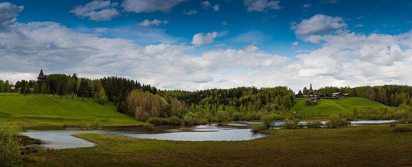 Panorama, Arkhangelsk, North, Karelians, Temples