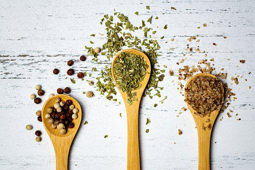 Spoon, Spices, Pepper, White, Salt, Herbs, Nutrition