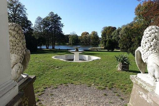 Park, Pond, Fountain, Landscape, Nature, Romantic