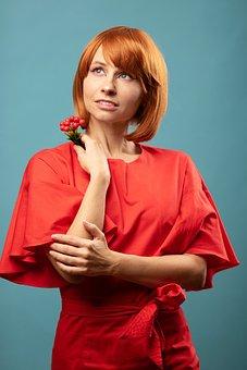 Redhead, Red Hair, Girl, Woman, Haircut, Laying, Wig