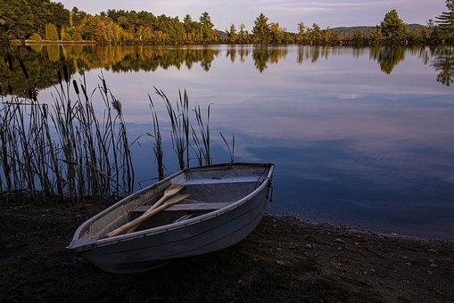 Boat, Dawn, Lake, Water, Nature, Reflection, Landscape