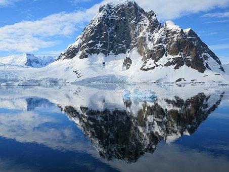 Antarctica, Mirroring, Mountain, Snow, Reflection, Sky