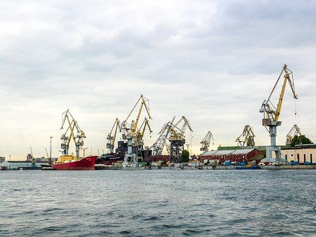 St Petersburg, Russia, Port, Harbour Cranes, Ships