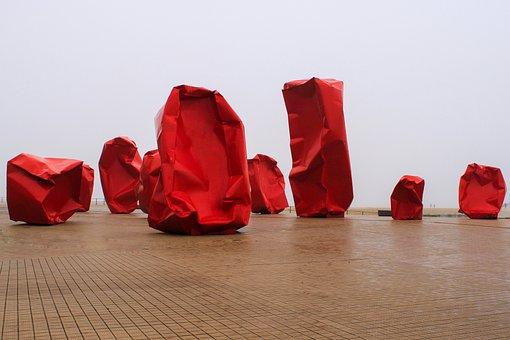 Work Of Art, Sculpture, Red, Modern, Iron, Metal