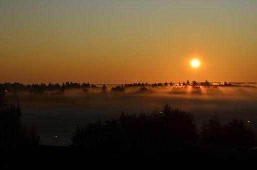 Dawn, Morning, Summer, Sky, Landscape, Sun, Fog