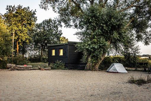 Beach, Sand, Elbe, Hamburg, Tent, House, Tree, Summer