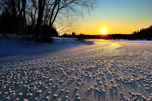 Landscape, Nature, Sunset, Ice, Snow, Sun, Trees, Birch